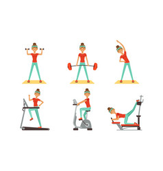 Young woman doing different sport exercises vector