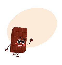 cute chocolate bar character with funny face vector image vector image
