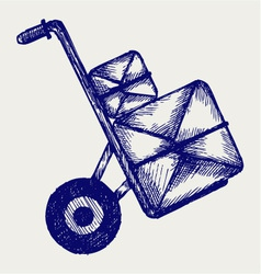 Hand truck with post packages vector image vector image