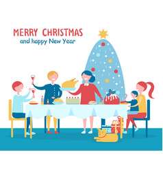 merry christmas familys dinner vector image