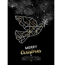 Merry christmas new year peace dove outline gold vector image vector image