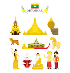 myanmar landmarks and culture object set vector image vector image