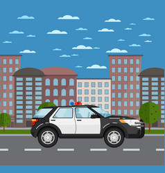 police suv on road in urban landscape vector image vector image