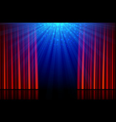 stage with red opening curtains and spotlights vector image