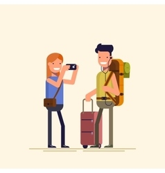 Tourists are photographed She takes on the camera vector image vector image