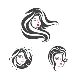 collection of beauty woman face and hair vector image