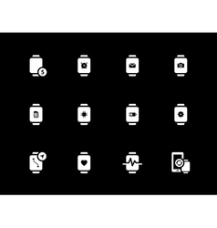 Mobile smart watch icons on black background vector image