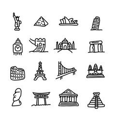 set of travel landmarks icon set vector image vector image