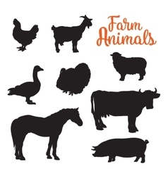 diverse collection of farm animals black contour vector image vector image