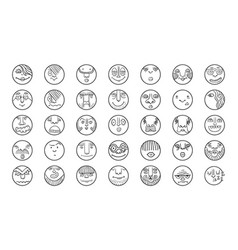 people face cartoon circle icones vector image vector image