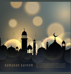 ramadan kareem islamic seasonal greeting with vector image