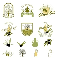 Set of the olive oil labels and badges isolated on vector image vector image