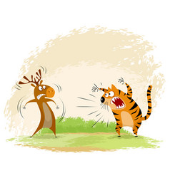 tiger snarls on elk vector image vector image
