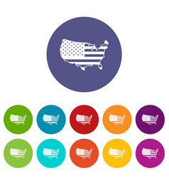 usa map set icons vector image