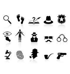 black detective icons set vector image