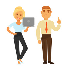 business woman with laptop and man showing have vector image vector image
