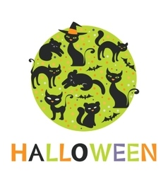 Colorful round composition with black cats vector