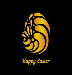 Greeting card with golden easter egg-5 vector image vector image