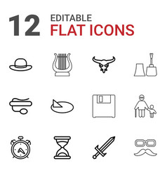 12 old icons vector image