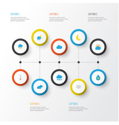 Air flat icons set collection of cloud moon vector