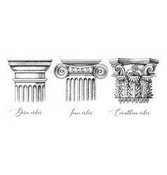 architectural orders 3 types classical vector image