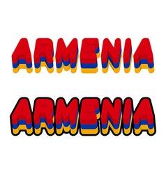 Armenia typography Text of Armenian flag Emblem of vector image