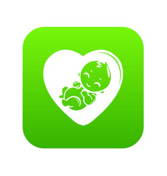 Baby icon green vector
