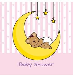 Bear sleeping on the moon vector image