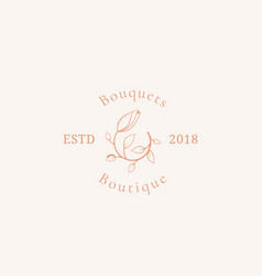 Bouquets boutique sign symbol or logo vector