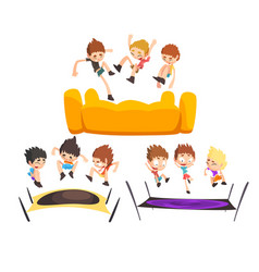 boys jumping on trampoline happy bouncing kids vector image