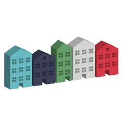 Building housing street in 3d vector