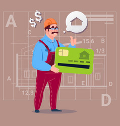 Cartoon builder hold credit card sell house real vector