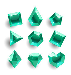 cartoon green emerald different shapes crystals vector image