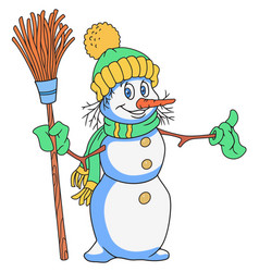 cheerful snowman cartoon vector image