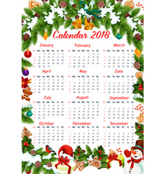 christmas 2018 calendar decoration template vector image