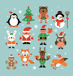 christmas characters santa claus fir-tree and vector image