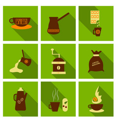 Coffee shop design elements vintage vector
