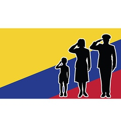 Colombia soldier family salute vector image