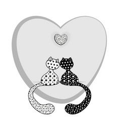 Coloring black and white cats and heart vector