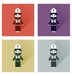 Concept of flat icons with long shadow Christian vector