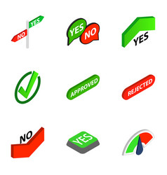 Correct and incorrect icons isometric 3d style vector