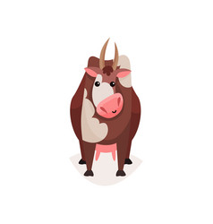 cute funny brown spotted milk cow cartoon vector image