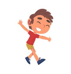 Cute happy boy having fun schoolboy daily routine vector
