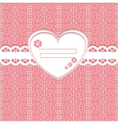 cute lace frame on lace background vector image vector image