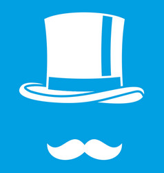 Cylinder and moustaches icon white vector