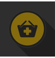 Dark gray and yellow icon - shopping basket plus vector
