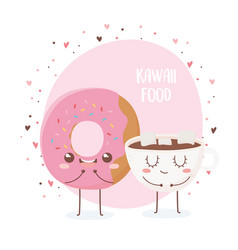 donut and chocolate cup with marshmallow kawaii vector image