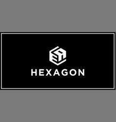 Ea hexagon logo design inspiratio vector