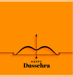 Elegant happy dussehra yellow background with bow vector