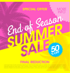 End of season summer sale banner design template vector